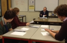 William Dartmouth visits 6th form politics lesson