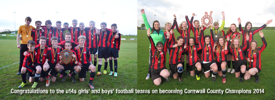 U14 Girls' and U14 Boys' football teams become County Champions