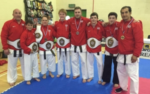 David Wilks (3rd in from the right) with his championship belt.