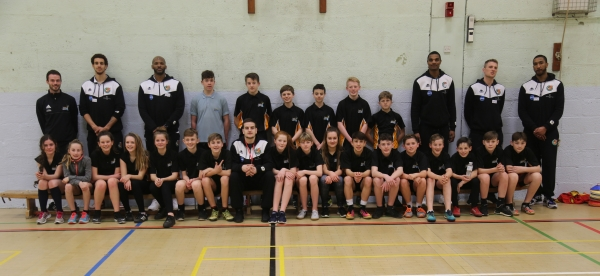 Plymouth Raiders pose with saltash.net students