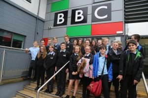 saltash.net students outside the BBC studios in Plymouth