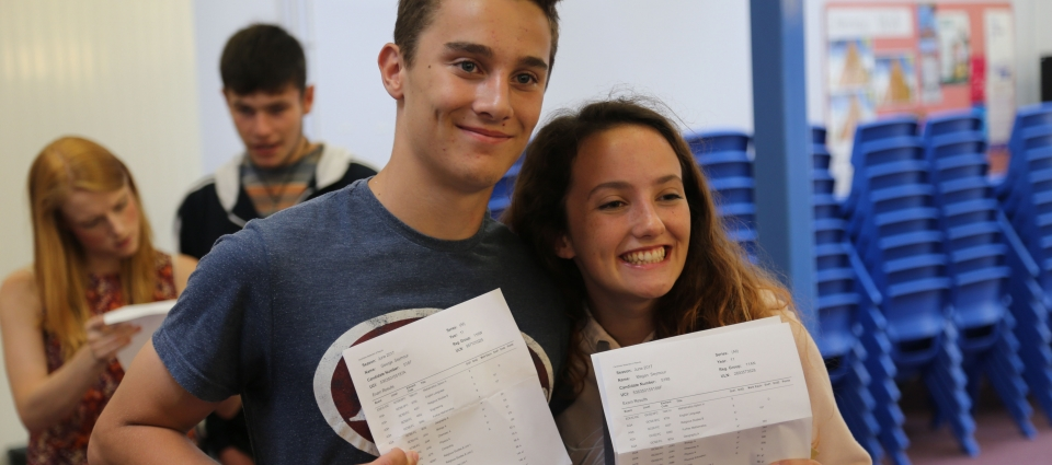 George and Megan Seymour celebrate their results