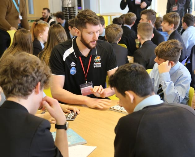 Plymouth Raiders star Zak Wells talks to saltash.net students
