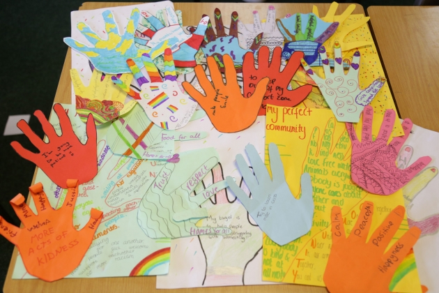 Handprints from Year 8's Community Day