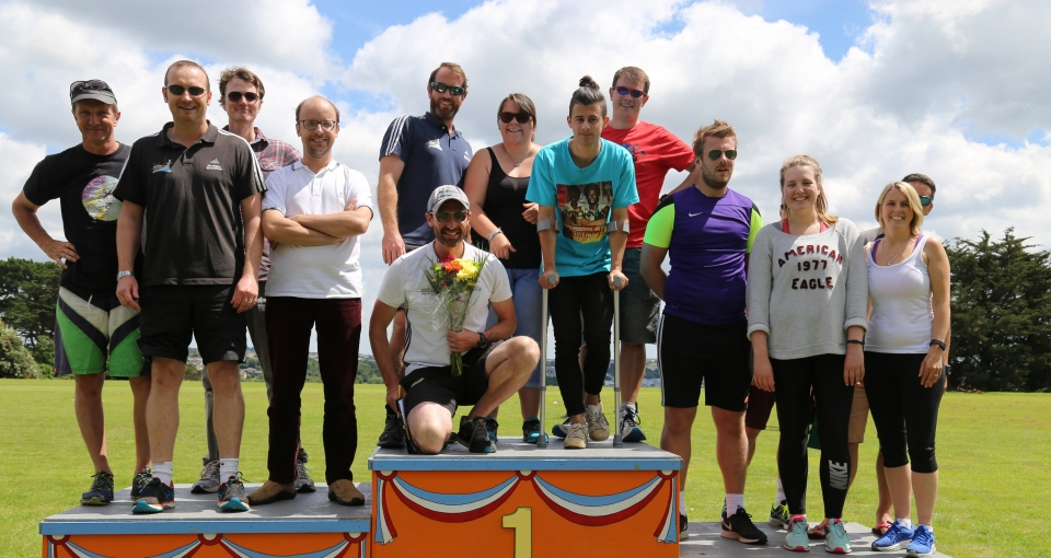 Staff relay podium at Sports Day